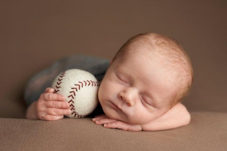 Newborn baby photo sports baseball prop for boy in Arlington Heights, IL